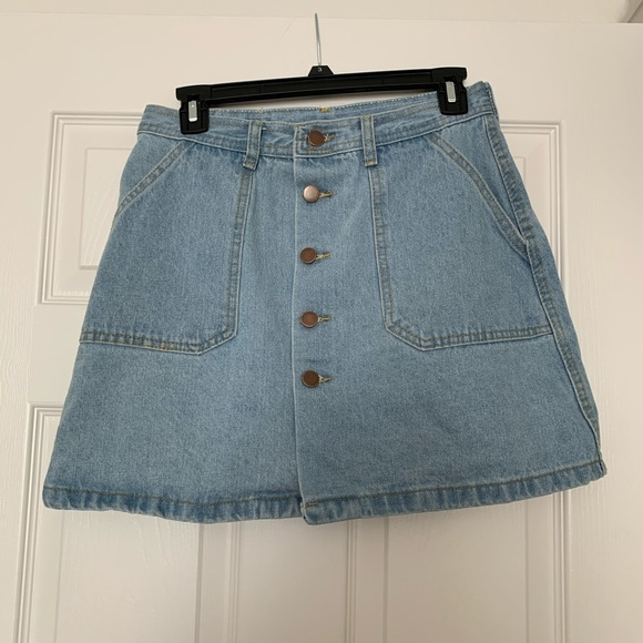 Dresses & Skirts - High-Waist Button Denim Skirt